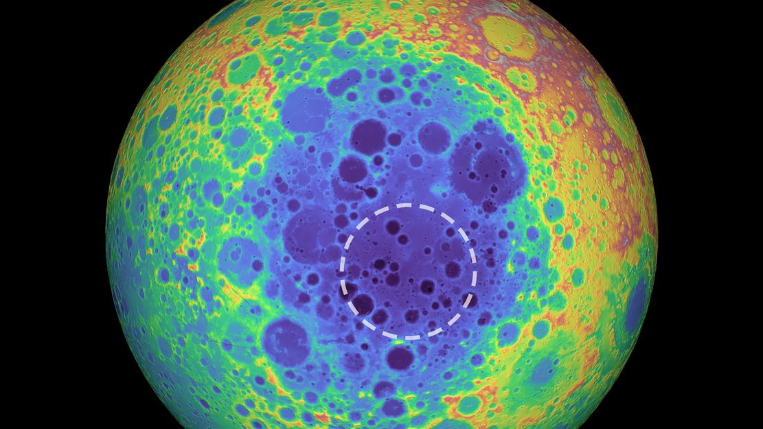 Massive Mass anomaly under a Giant Crater on the Moon discovered