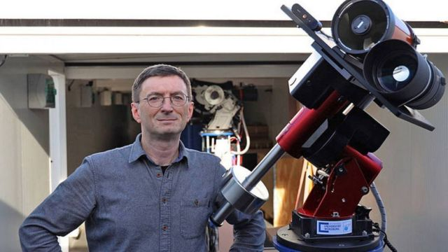 Professor Hakan Kayal next to the moon telescope