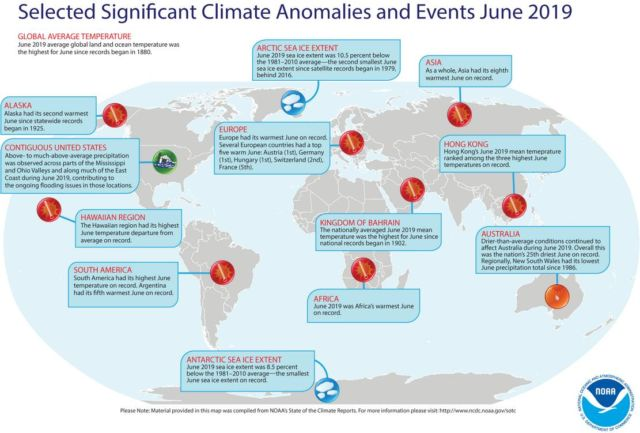 June 2019 hottest on record for Earth