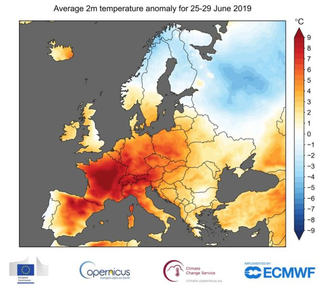 Record-breaking temperatures for June in Europe