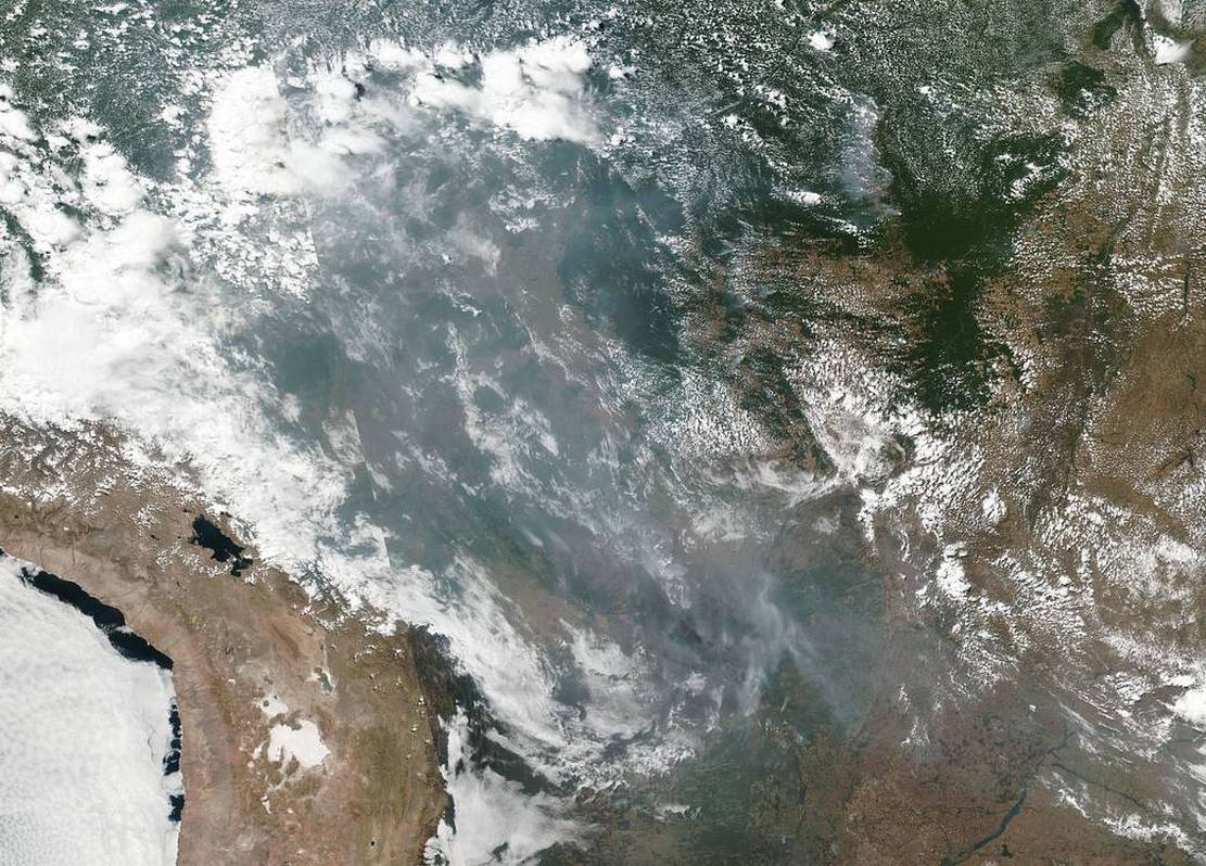 Wildfires in the Brazilian Rainforest from satellite