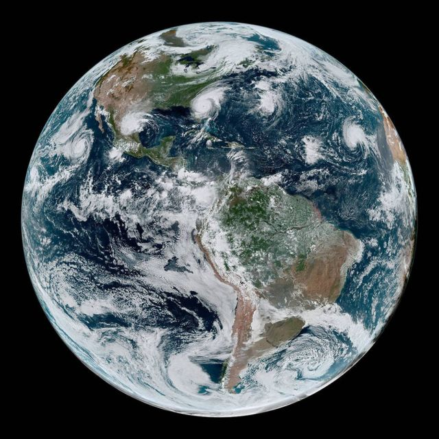 Four Tropical Cyclones from Space