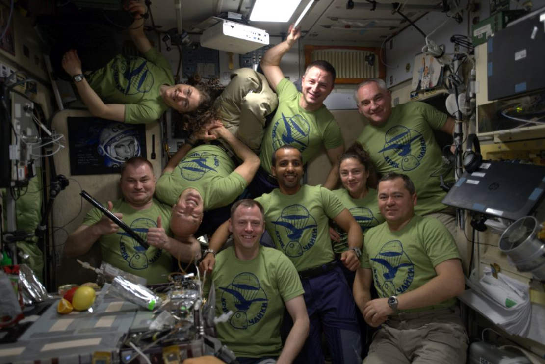 9 Astronauts from different places on Earth are on the Space Station