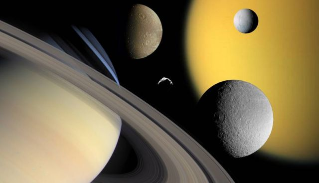 Moons around Saturn