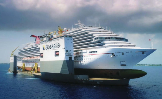 Lifting the giant Carnival Vista cruise ship