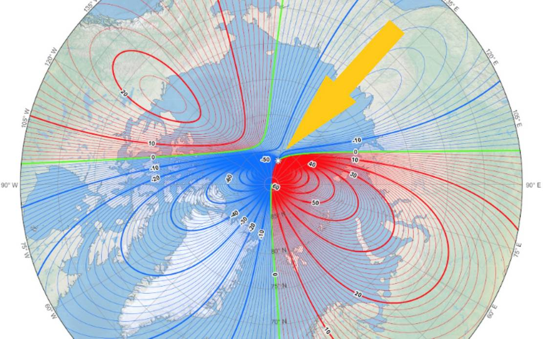 Earth's Magnetic North Pole is moving fast towards Russia