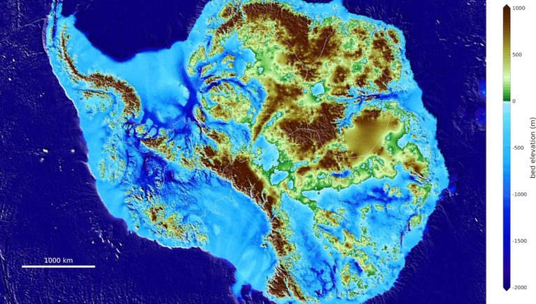High-precision map of Antarctic ice sheet bed topography