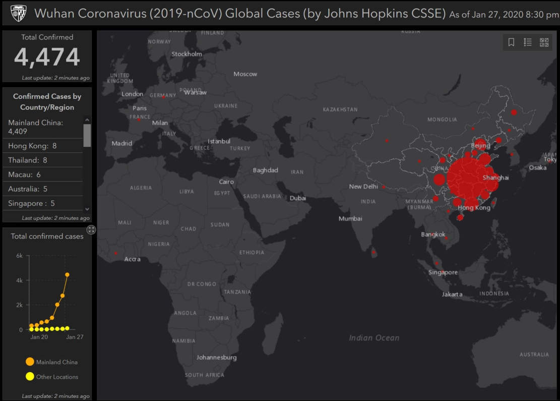 A Website Tracking the Global Spread of Wuhan Coronavirus