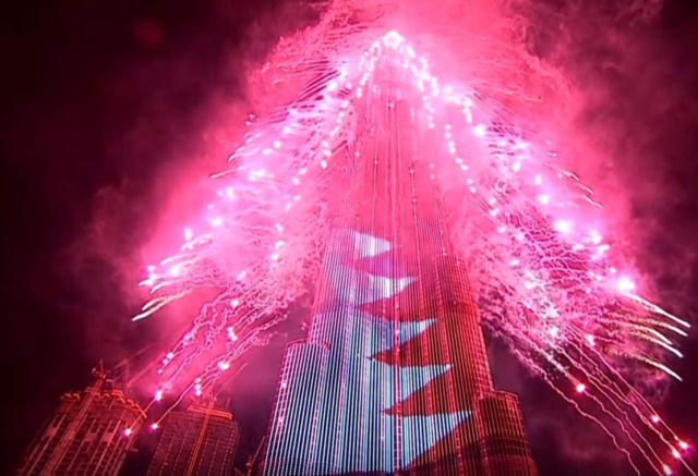 Stunning Fireworks show at World's Tallest Building