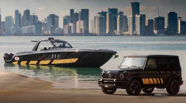 Mercedes-AMG G63 and Cigarette Racing 59' speedboat