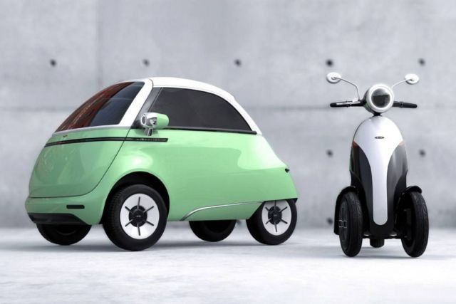 Micro electric bubble car and three-wheeled e-scooter