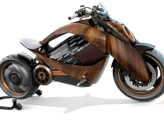 Newron Motors curved wooden electric Motorcycle