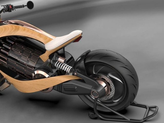 Newron Motors curved wooden electric Motorcycle (1)