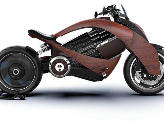 Newron Motors curved wooden electric Motorcycle (9)