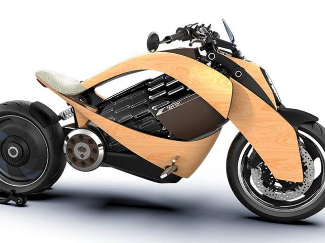Newron Motors curved wooden electric Motorcycle (8)