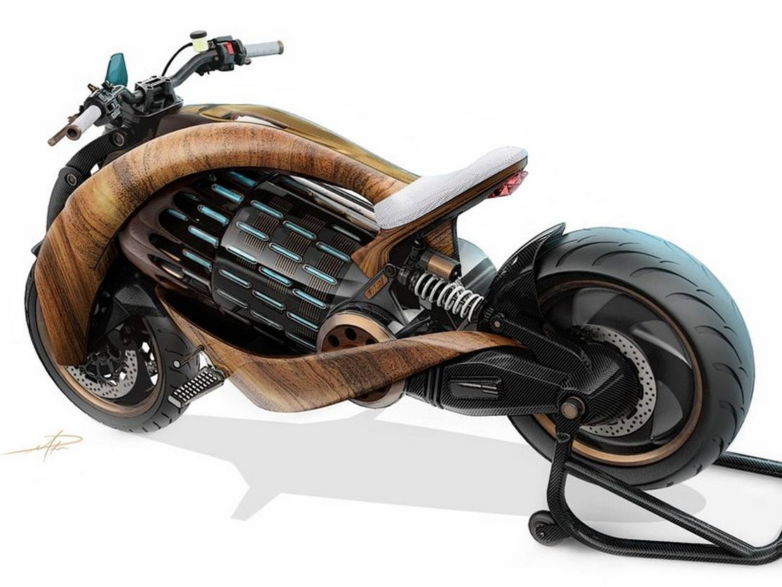 Newron Motors curved wooden electric Motorcycle (7)