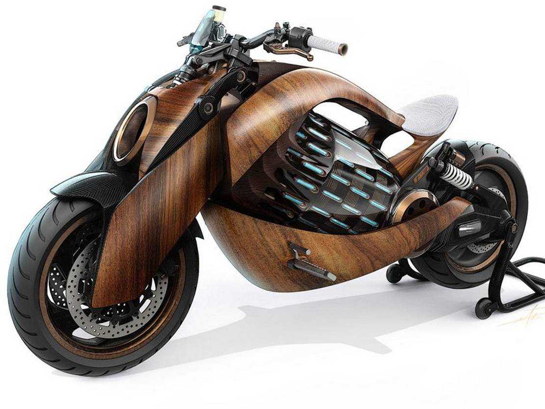 Newron Motors curved wooden electric Motorcycle (5)