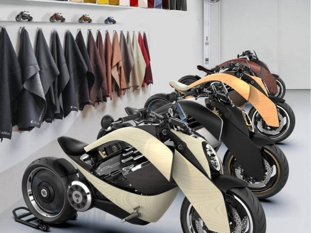 Newron Motors curved wooden electric Motorcycle (3)