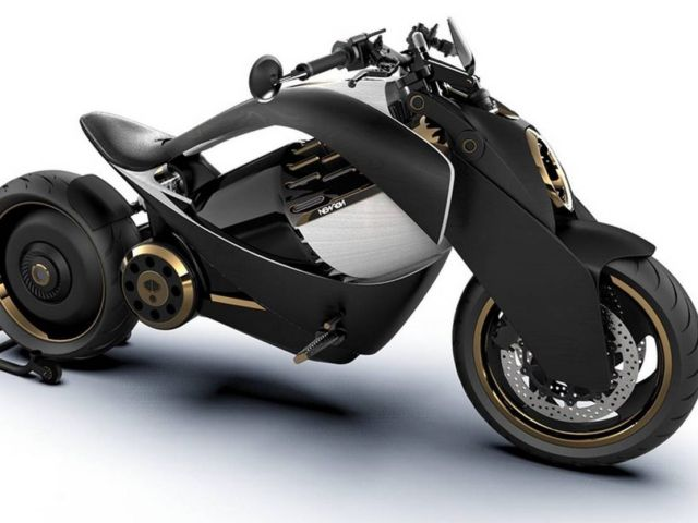 Newron Motors curved wooden electric Motorcycle (2)