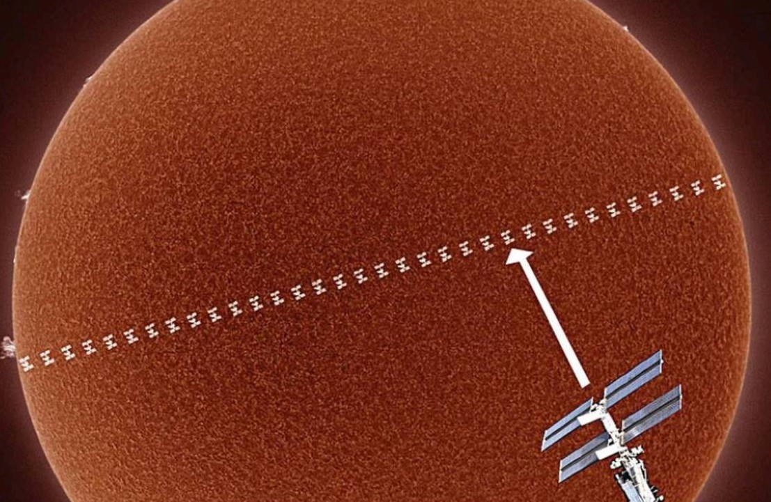Space Station as it passes across the face of the Sun (1)