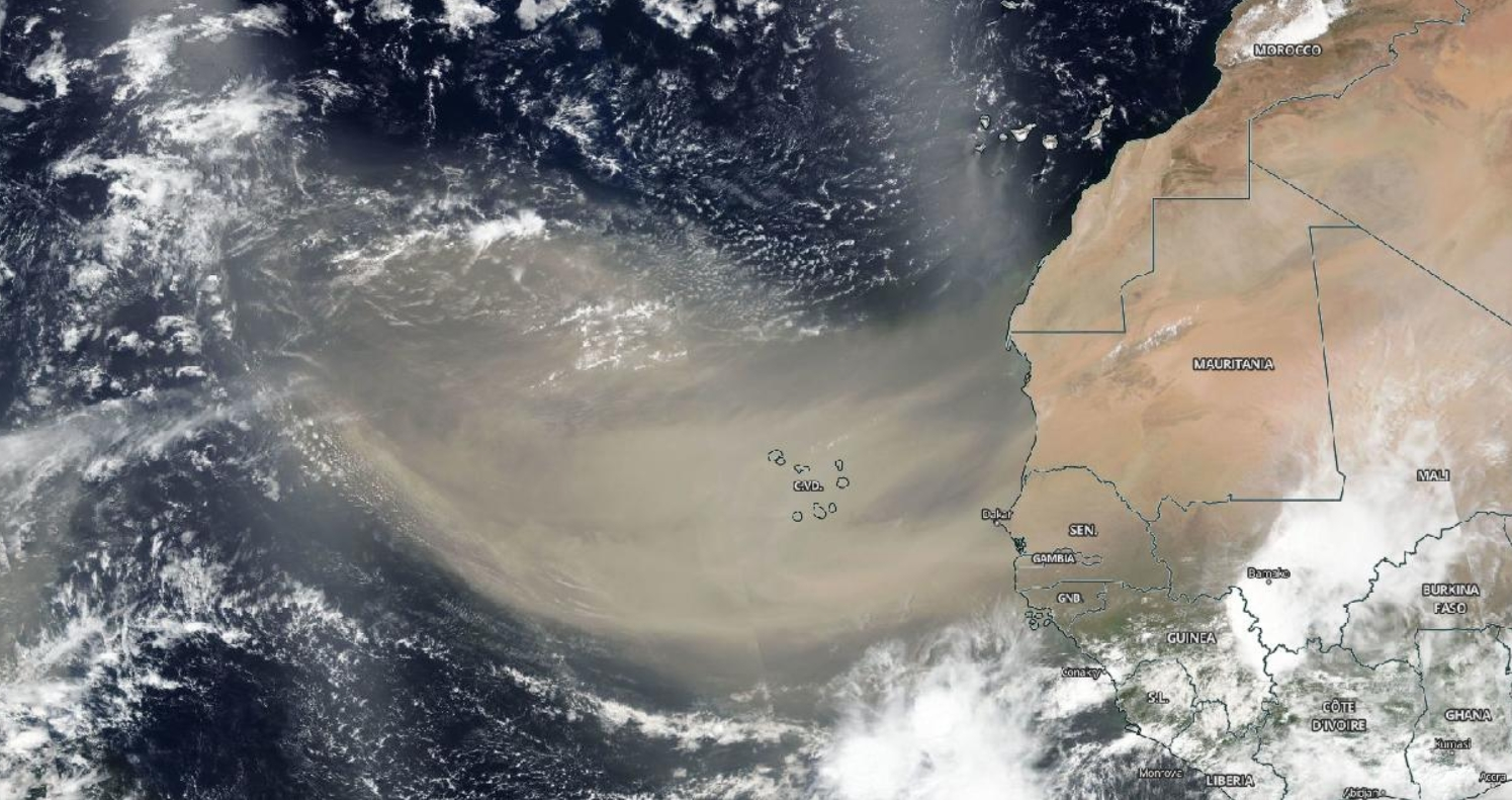 Massive Saharan Dust Cloud over the Atlantic Ocean