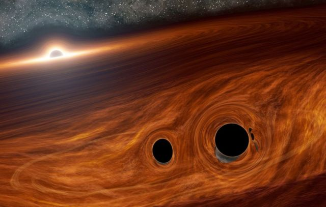 Light are seen coming out of Black Holes merge