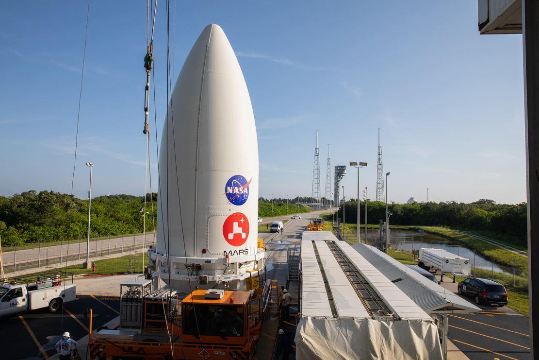 Perseverance Mars Rover attached to Atlas V Rocket