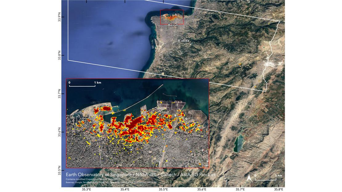 Satellite Maps Beirut Blast damage