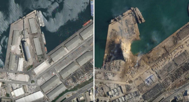 Satellite images showing scale of Beirut blast