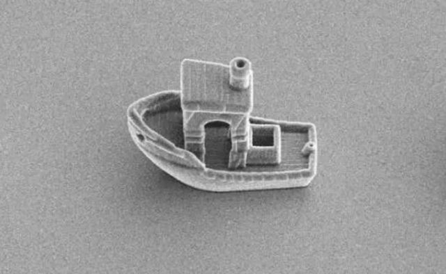 3D Printed Microboat smaller than the Thickness of a Hair