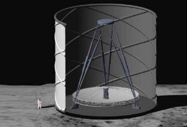 A Huge Telescope on the Moon to study the Big Bang
