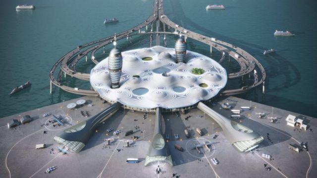 Futuristic Japanese Spaceport concept