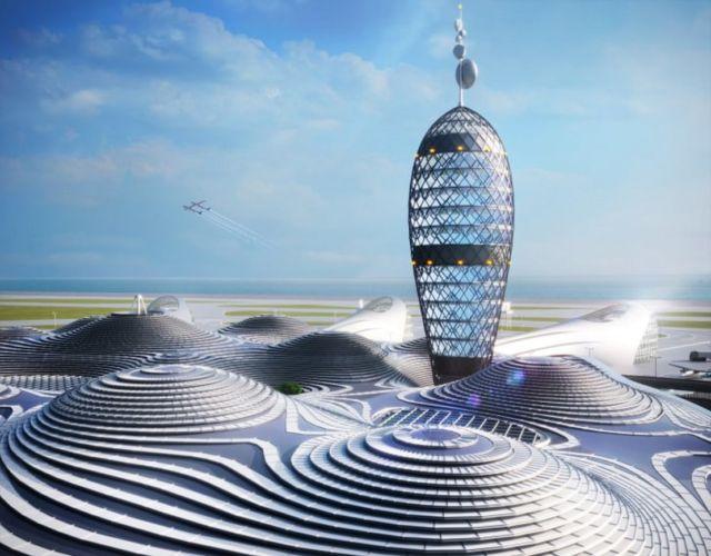 Futuristic Japanese Spaceport concept (3)