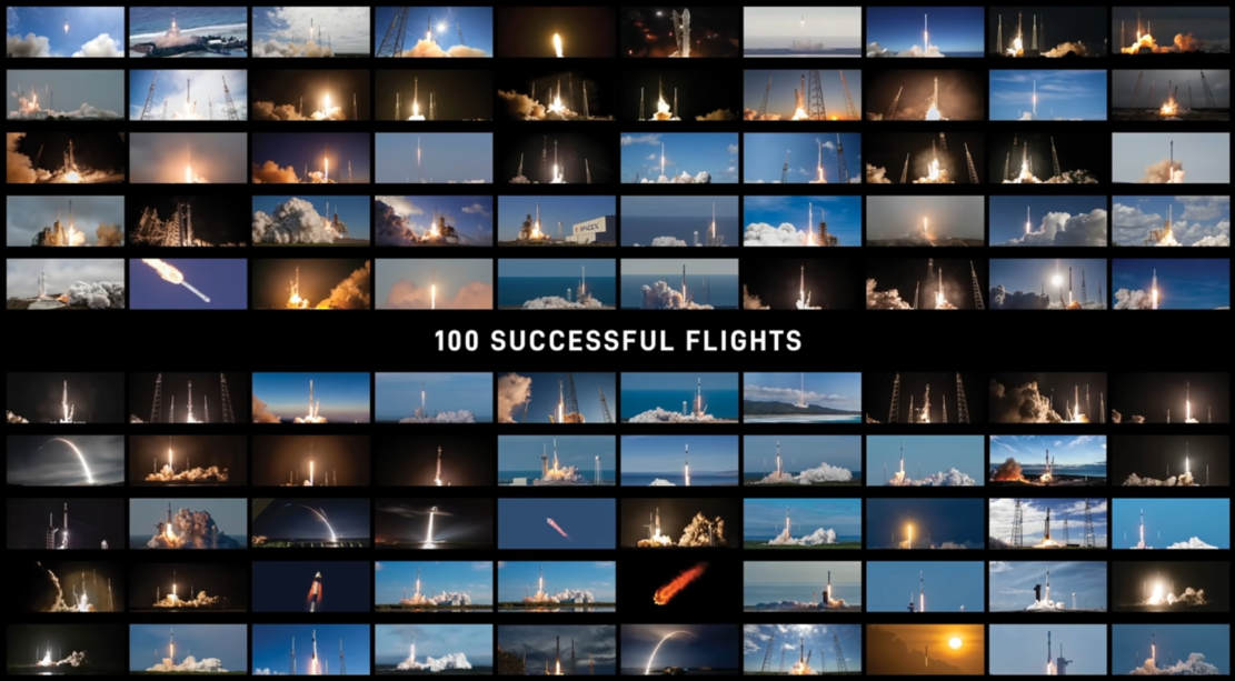 SpaceX 100 successful Flights