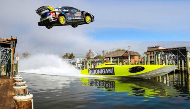 Subaru WRX STI jumping over a speedboat