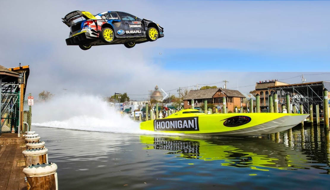 Subaru WRX STI jumping over a speedboat
