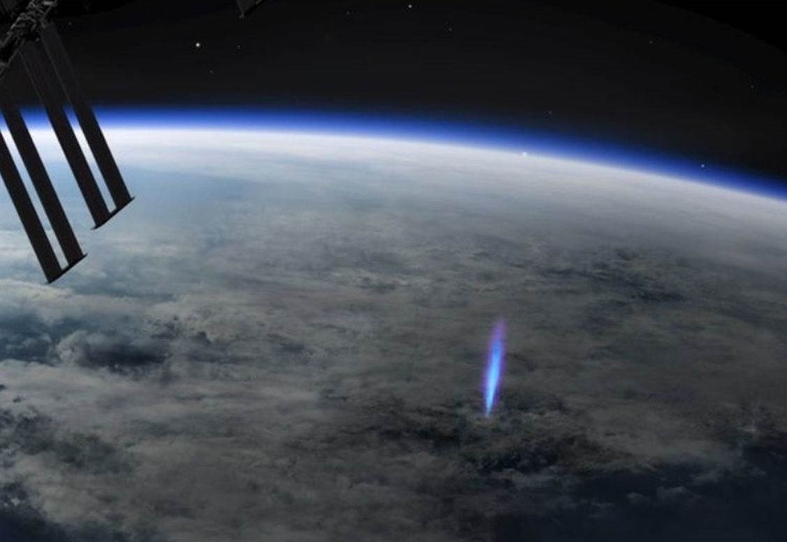 Rare 'blue jet' lightning viewed from the Space Station