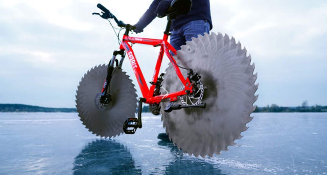 Bike with Circular Saws on Ice
