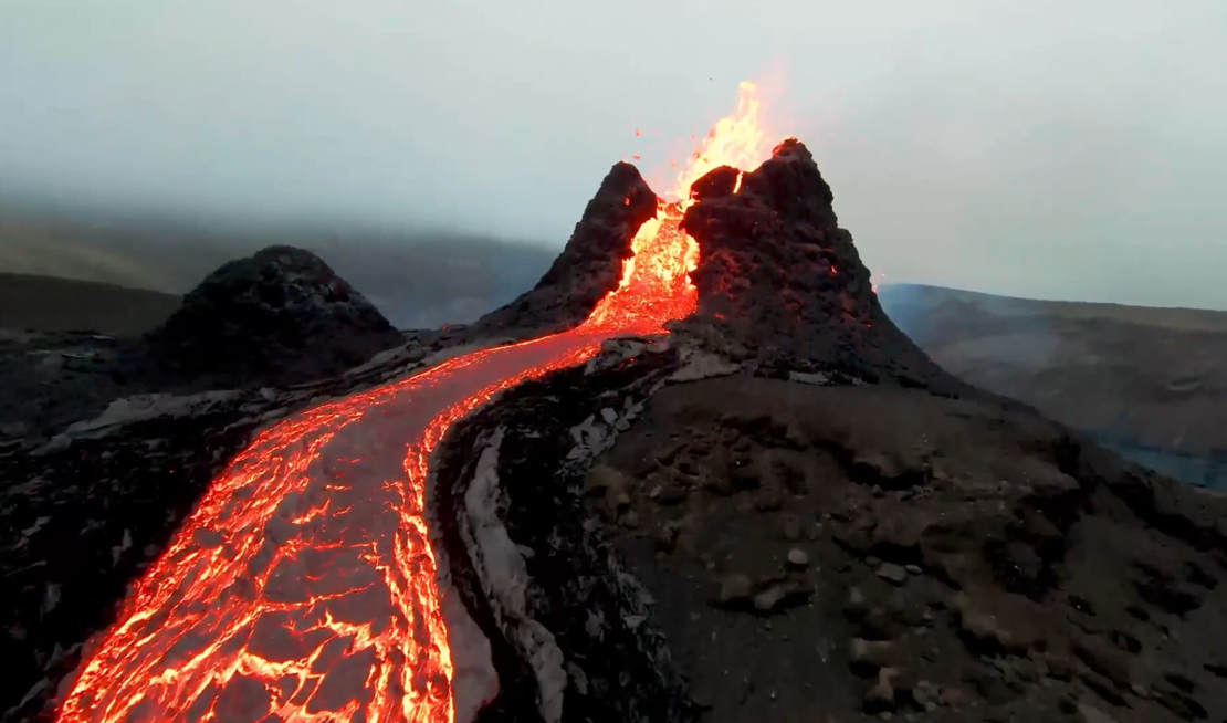 Drone Flies over Iceland's Volcano