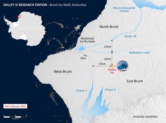 Huge Iceberg has broken off the Brunt Ice Shelf in Antarctica