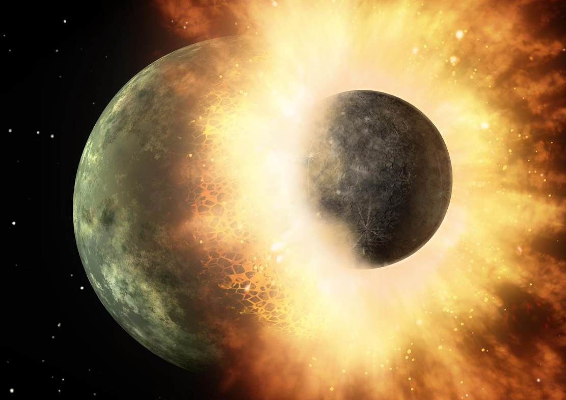 Above: An artist's depiction of an impact of a protoplanet like Theia and Earth. Credit NASA/JPL-Caltech/Wikimedia Commons