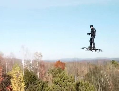 Man is Flying on a Giant Drone