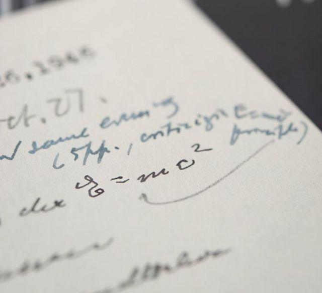Einstein's Handwritten Mass Equation