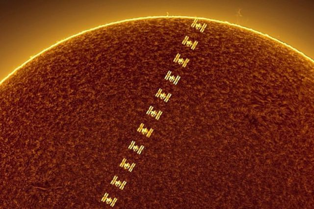 Space Station crossing the Sun