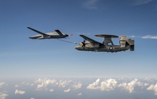 Air Tanker Drone Refueling a E-2D Hawkeye