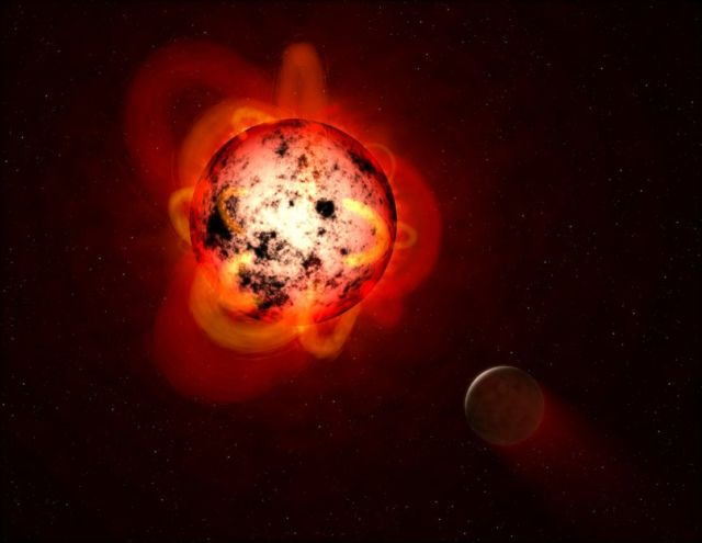 A red dwarf star with an exoplanet in orbit