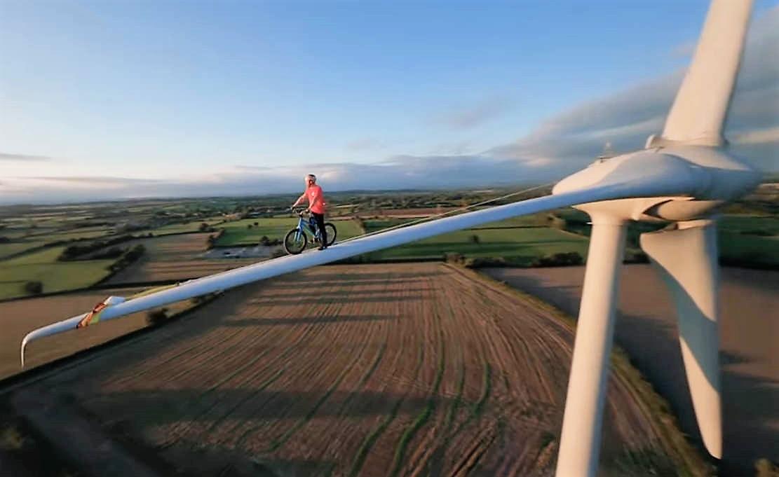 Riding a Wind Turbine Blade